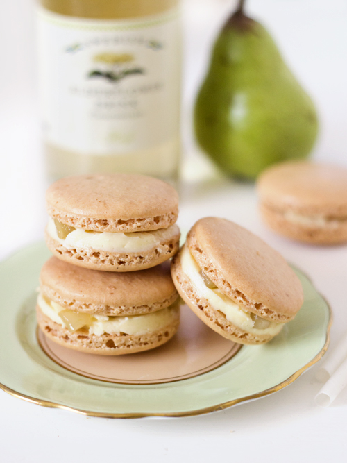 pear & elderflower macarons