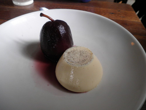 Panna cotta with red wine poached pear