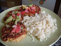 Corn cakes with avocado salsa