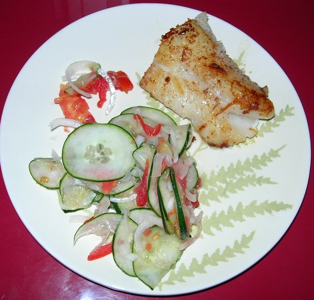 Sauteed Arctic Cod with Cucumber Salad