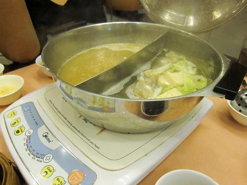 The broth for the shabu-shabu at Golden Fortune
