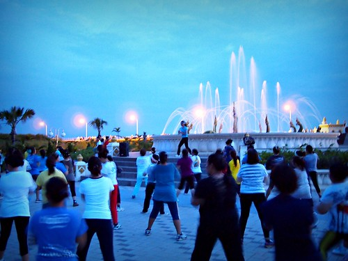Mass dance, Chao Anouvong Park, Vientiane, Laos