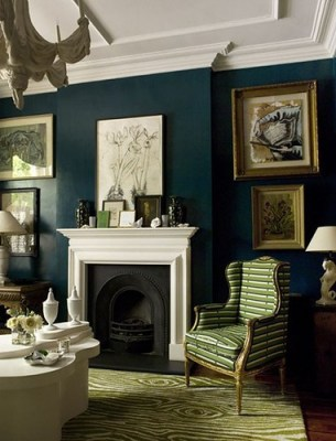 house and home dark blue living room
