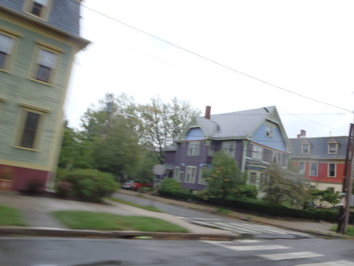 Victorians along Dexter Street, Providence in the rain on my ride home