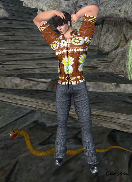 Hell Bop - Talis - Hawaiian Shirt Brown,  EF Grey Fall Comfort Pants, Battle Fly - Dr. Rottens Steel Toe Boots