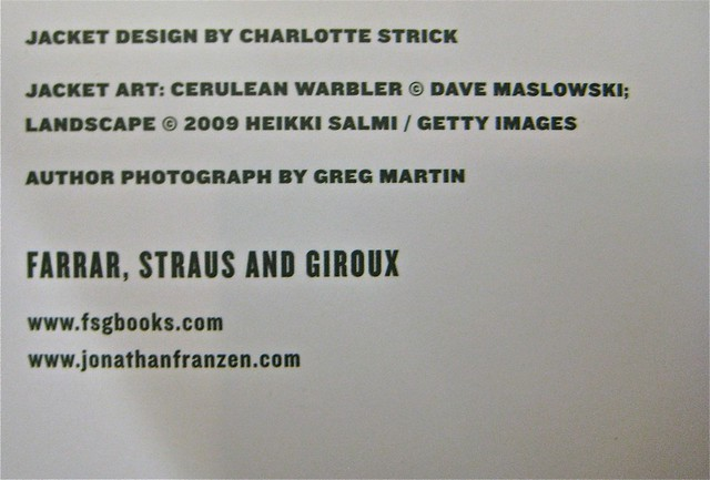 Jonathan Franzen / Freedom / Charlotte Strick. Colophon (part.)