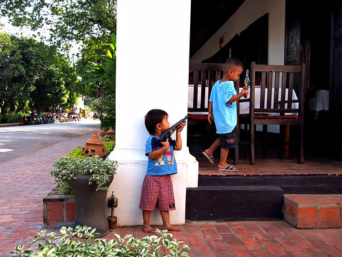Boys and their toy guns, Luang Prabang