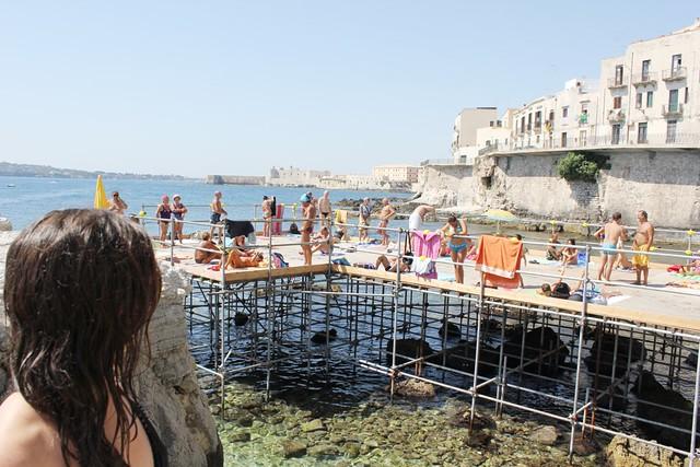 local swimming platform in syracuse, sicily
