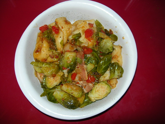 Brussels Sprouts, Pierogies and Bacon