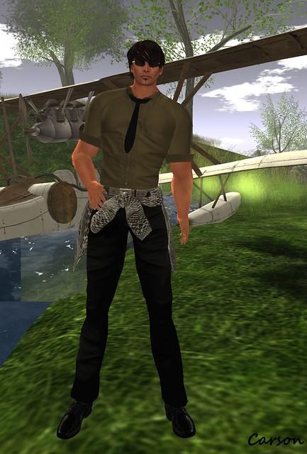INEDIT - Khaki Shirt, Black Pants, & Wrap Around Sweater