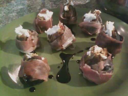 Figs stuffed with goat cheese and wrapped in jamon serrano