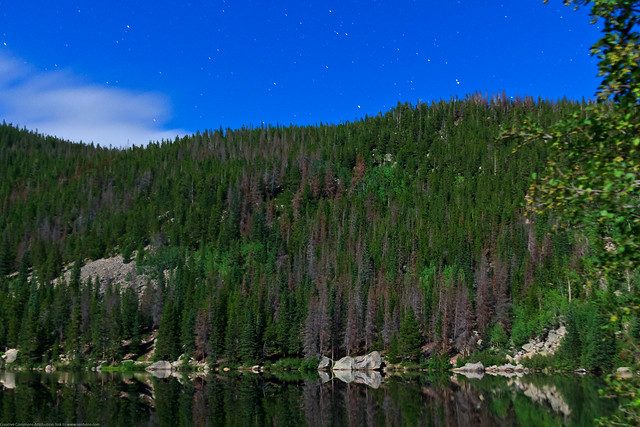Bear Lake Under a Full Moon with Stars