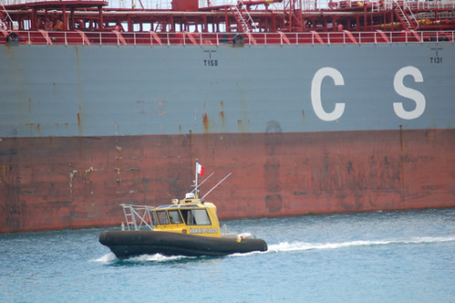 pilot boat by tanker