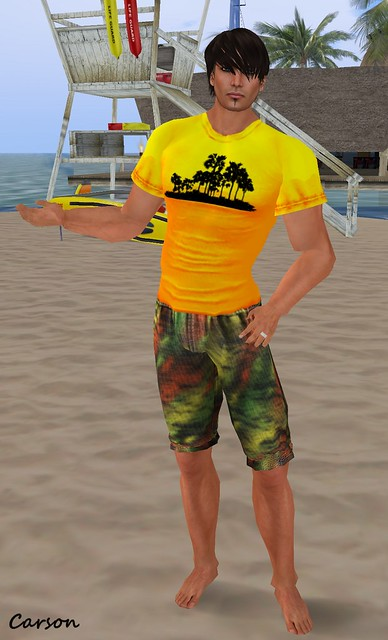 Connors  - SURF PANTS RASTACOLOR  ---  Just Because - Sunny Palms Shirt
