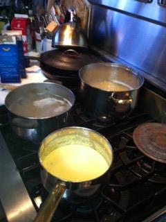 Pots bubbling away