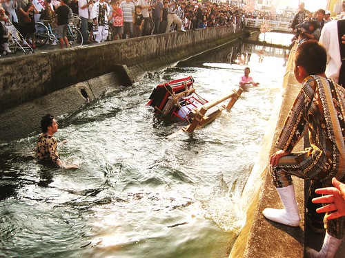 Mikoshi thrown in the river!