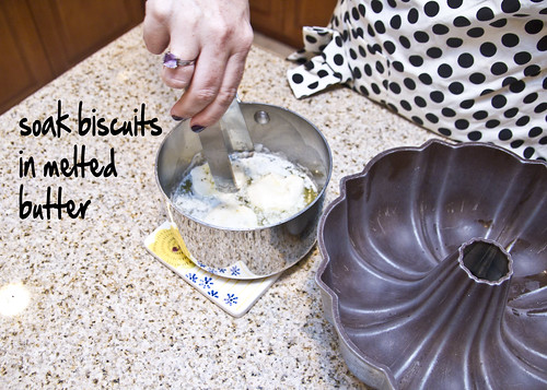 soak the biscuits in butter