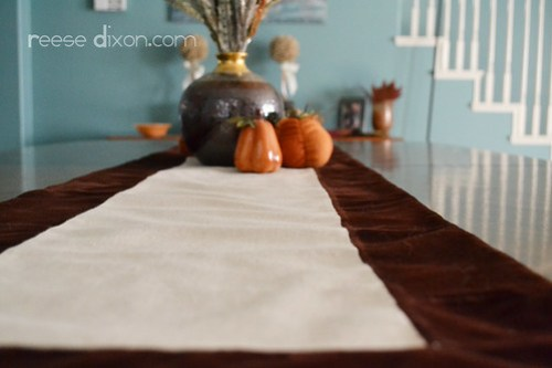 Velvet and linen table runner