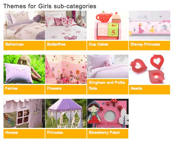 'Themes for girls' sub-categories page from Kidzdens.co.uk