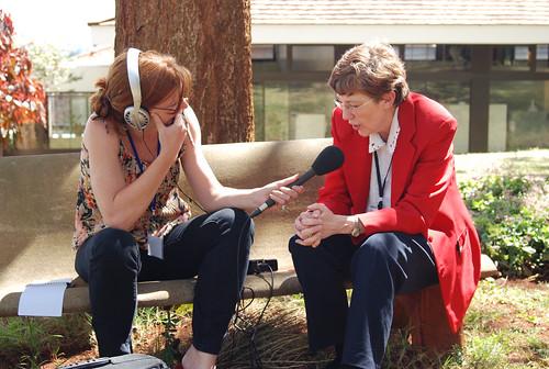 Gabrielle Persley being interviewed