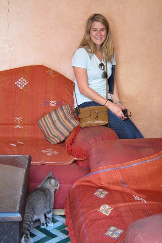 TechWoman and cat Marrakesh Morocco
