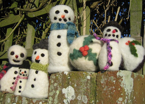A selection of needlefelted decorations4640