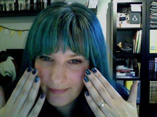 Blue Hair & Nails