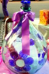 bottiglia dipinta con colori da vetro