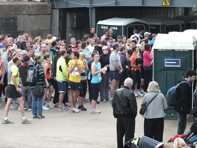 Cardiff Half Marathon 2011-Queuing for the toilets at 08:58