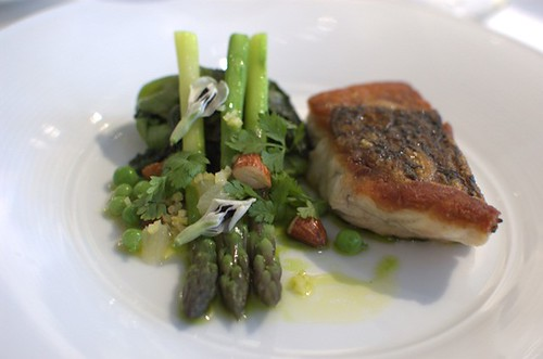 Pan roasted barramundi, braised gem lettuce, spring peas, chervil and verjus