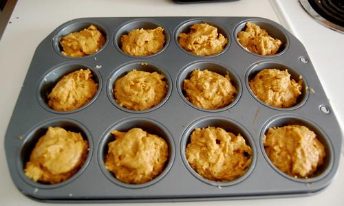 pumpkin muffins, pre-baking.