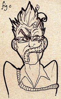 A drawing on textured card. It depicts the artist, a young man with short, spiky hair, awash with fury and dismay, but also, paradoxically, elation and delight. He is drooling slightly.