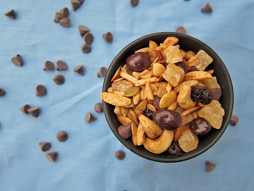 Top-down view of the same bowl of trail mix.