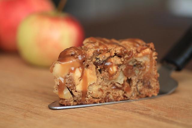 Sticky apple pie with brandy caramel sauce