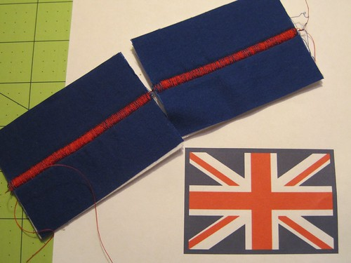Union Jack Patches made using a zig-zag stitch.