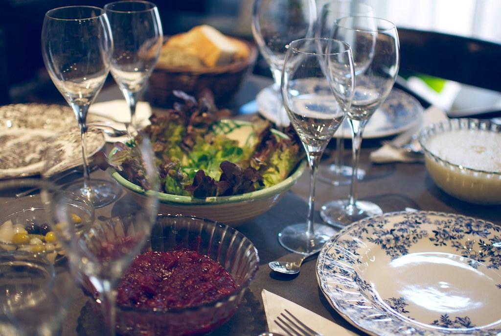 mesa, salsa de arandanos