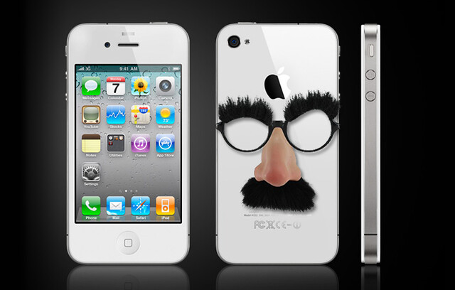 iPhone with disguise glasses