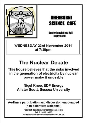 Sherbourne Science Cafe - November 2011 poster