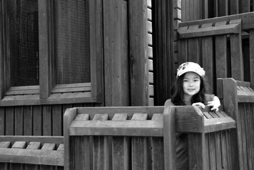 black and white photo - highpark playground