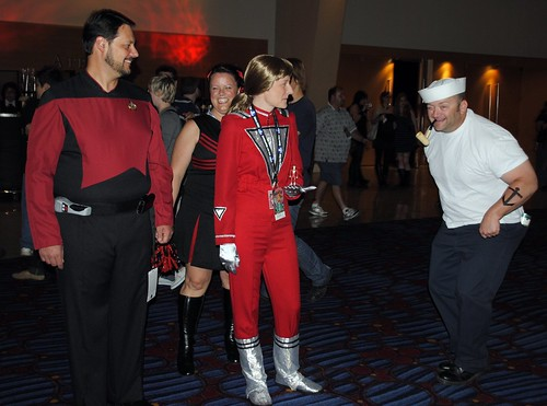 Cmdr. Riker, Mork, and Popeye