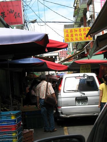 Driving through Daxi market 3