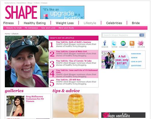 Me on Shape.com 's Lifestyle page
