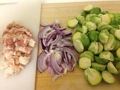 mise en place: bacon, onion, sprouts