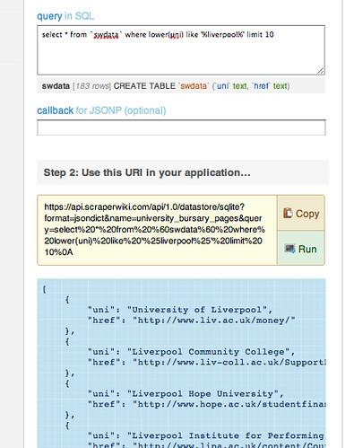 Scraperwiki API