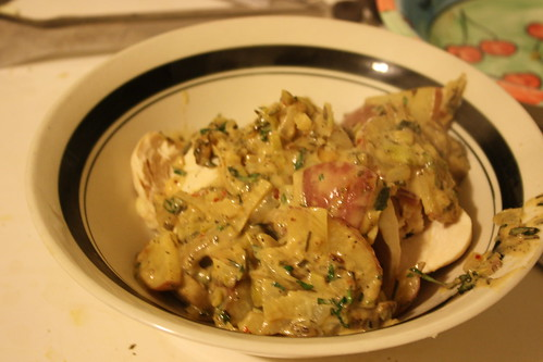 poached chicken with creamy...