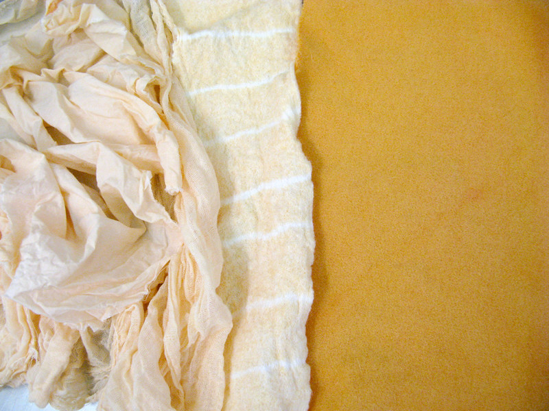 Dyed orange fabric.