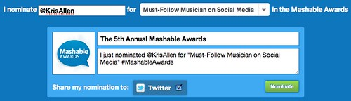 Nominate Kris Allen for Mashable Must-Follow Musician on Social Network award