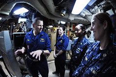Female Sailors visit USS Ohio.