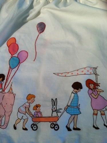 sarah jane playskirt: close up of embroidery