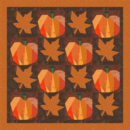maple and pumpkin 4 x 4  quilt mockup